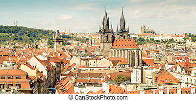 Prague, Czech Republic - Red roofs, cathedral and Palace of...