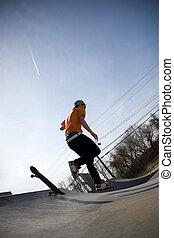 Skateboarder Falling Off - Portrait of a young skateboarder...