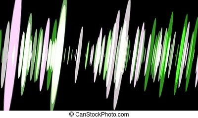 Pulsating Sound Waves - Pulsating green and white abstract...
