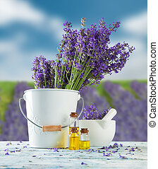 Lavender still life with blur field on background -...