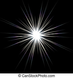 Solar Flare Star Burst - A bright solar flare over a black...