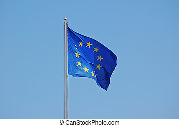 EU Flag - European Union flag in perfect blue sky