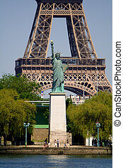 Eiffel Tower with Statue of Liberty - The Eiffel Tower and...