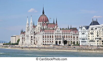 View of the building of the Hungarian parliament and Danube