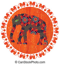 Elephant silhouette on bright orange background with pastels