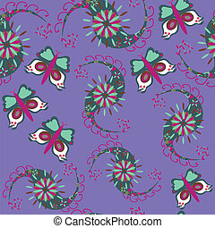 Paisley seamless pattern with butterfly and seamless pattern in