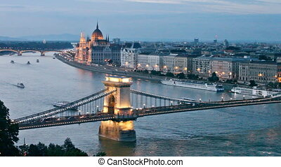 View from the royal hill to evening Budapest
