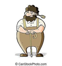 cartoon farmer leaning on walking stick