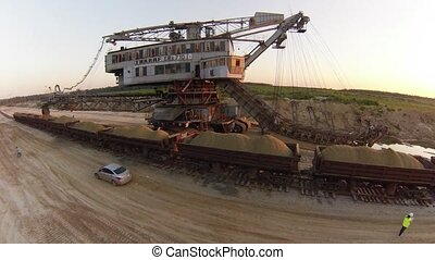 Sand mining excavator Takraf Ers 710 in Moscow region,...