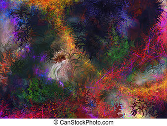 Fairy Fantasy - Little fairy girl in an abstract fantasy...