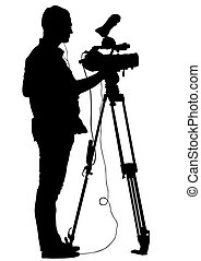 Tripod - Journalist and tripod of video camera on white...