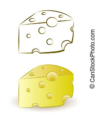 piece of yellow porous cheese food