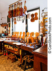 Violin workshop - Interior shot of music workshop for...