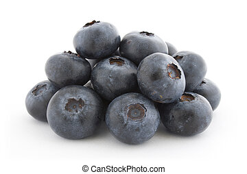 A pile of fresh blueberries isolated on white background...