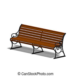 park bench - wooden park bench 3D render with clipping path...