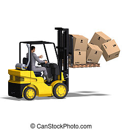 Forklift - rendering of an accident with a forklift With...