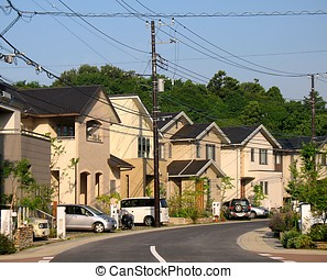 Residential Suburb of Tokyo - View of Japanese upper middle...