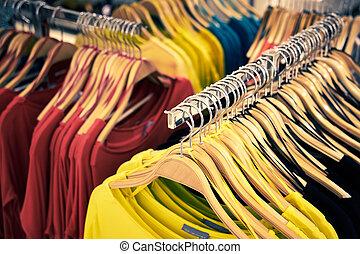 Laden,  t-shirt, einzelhandel, kleidung,  store-view
