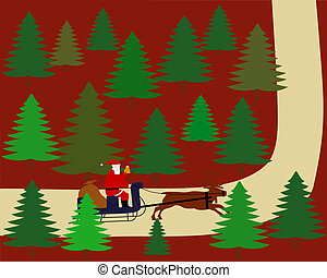 Santa Claus is riding on his reindeer sleigh through the forest