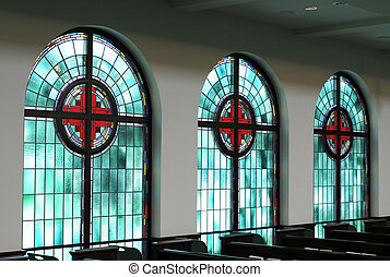 Stained Glass Windows - Three stained glass windows are...