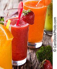 saudável, fresco, bebidas, fruta, suco