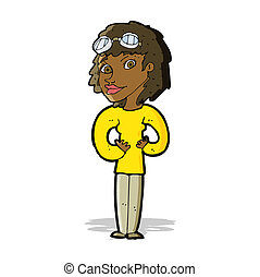 cartoon aviator woman