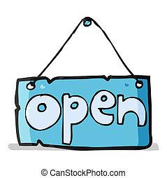 cartoon open shop sign