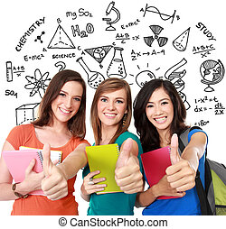female student together showing thumbs up - Portrait of a...
