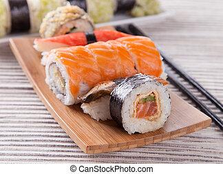 Japanese seafood sushi set, close-up
