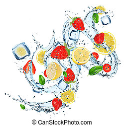 Fresh Fruit with water splash - Fresh fruit with water...