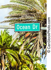 street sign at Ocean drive in Miami