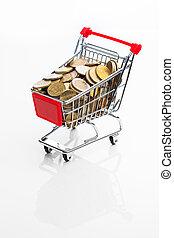 shopping cart full of money on white background