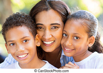 indian mother and her kids - happy indian mother and her...
