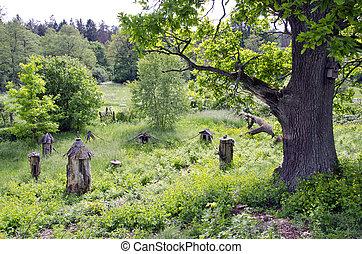 ancient  beehive in old rural garden