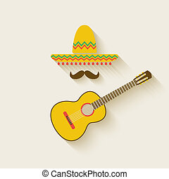Mexican sombrero and guitar - vector illustration eps 10