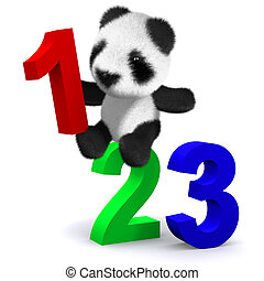 3d Panda bear learns to count - 3d render of a baby panda...
