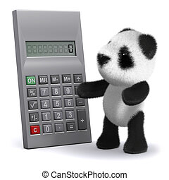 3d Panda bear calculates - 3d render of a baby panda bear...
