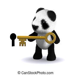 3d Panda bear with key - 3d render of a baby panda bear...