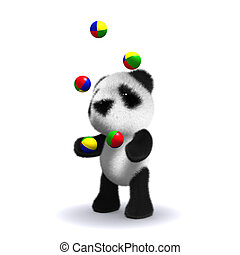 3d Panda bear juggles - 3d render of a baby panda bear...