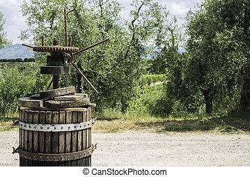 Vinatge olive press and olive trees on backgrund