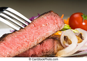 beef ribeye steak - fresh juicy beef ribeye steak sliced...