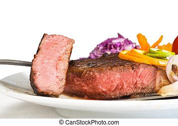 beef ribeye steak - fresh juicy beef ribeye steak sliced...