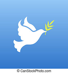 dove of peace - vector dove of peace with olive branch...