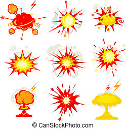 Explosion, blast or bomb bang fire - Comic Book Explosion,...