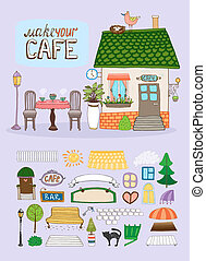 Make Your Cafe concept with a quaint hand-drawn vector cafe...
