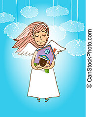Cute angel holding a house - Vector illustration of cute...