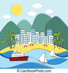 Coastal town with green mountains - Vector landscape of a...