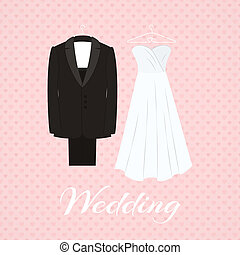 Suit beside wedding dress on pink background with little...