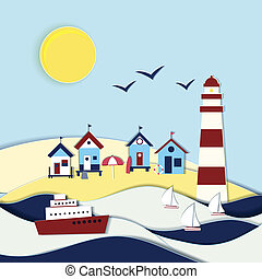 Nautical themed vector landscape with a lighthouse beach...