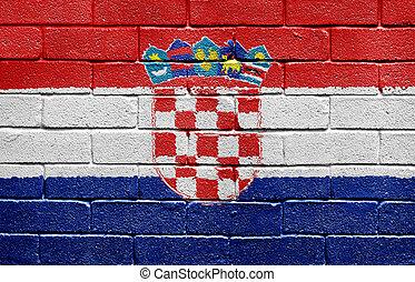 Flag of Coatia on brick wall